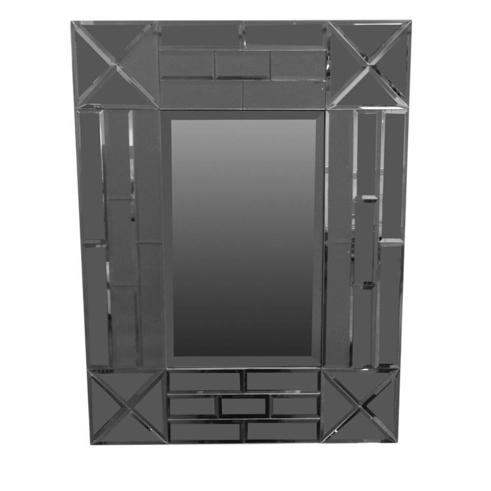 Mckinley Exquisite Rectangular Wooden Framed Mirror, Gray