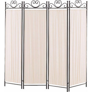 Alyson Folding Screen with Metal Frame & Gathered Fabric Panels, Black And White