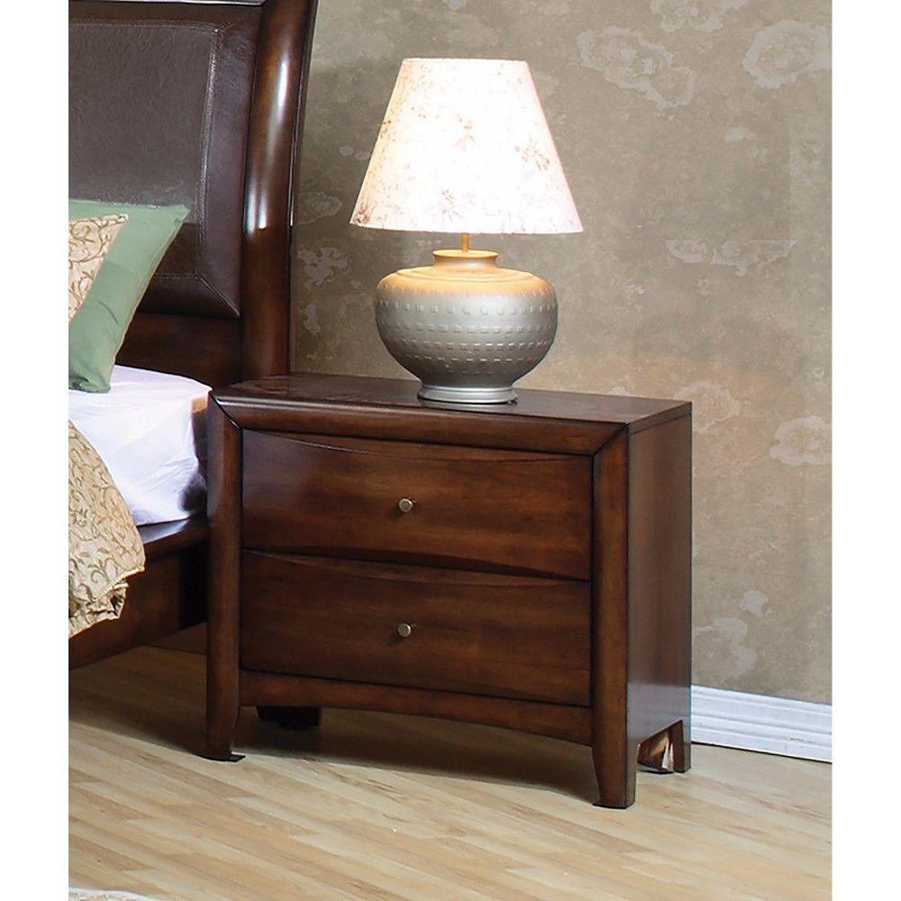 Adelaide Contemporary Style Wooden Nightstand With 2 Storage Drawers, Brown
