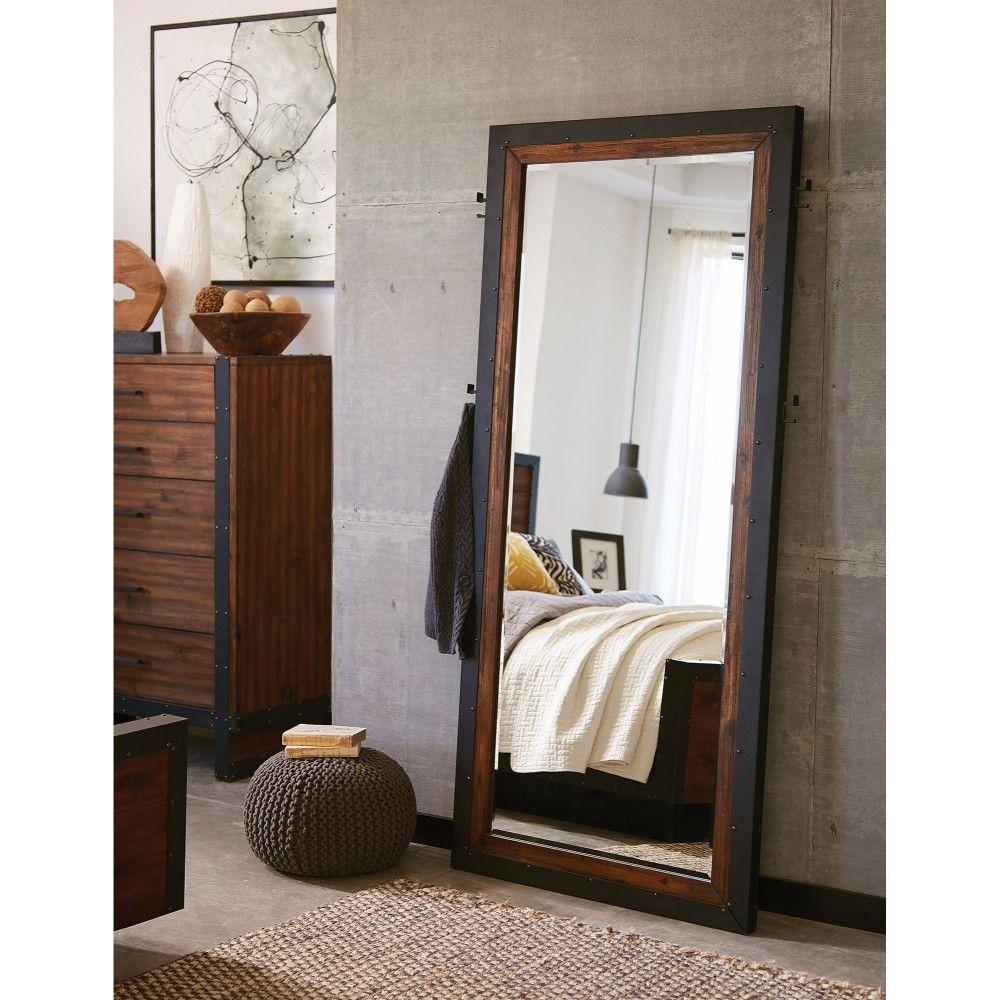 Melany Fine-looking Floor Mirror With Side Hooks, Brown