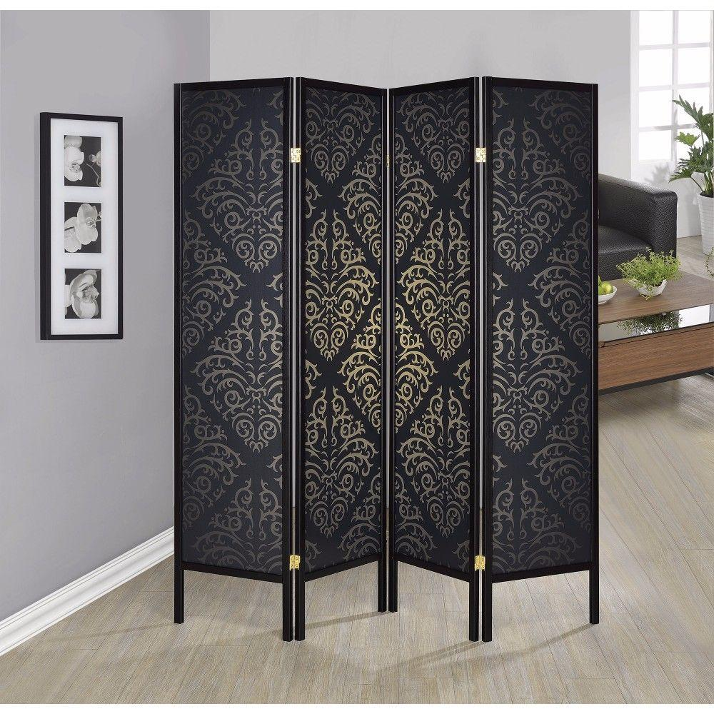 Arabella Captivating Four Panel Folding Screen With Damask Print, Black