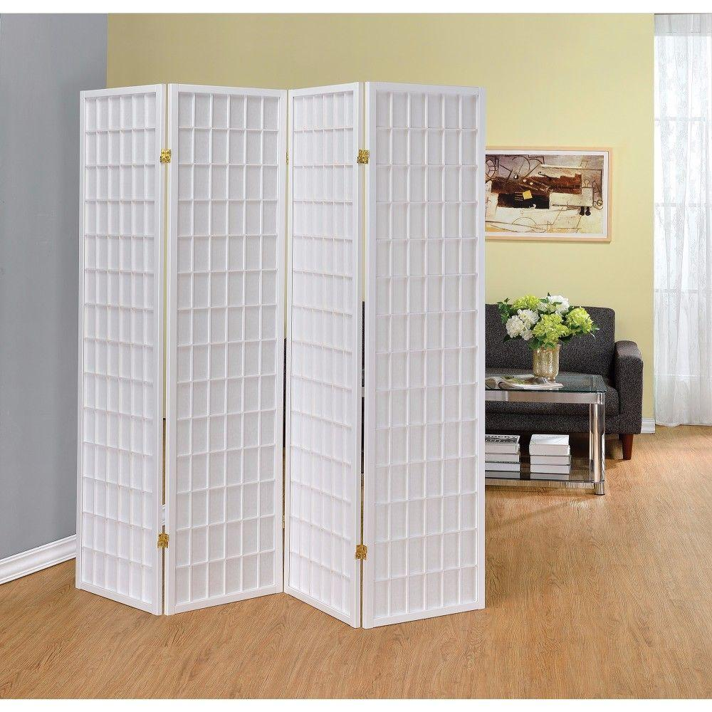 Juliette Contemporary Style Four Panel Folding Screen, White