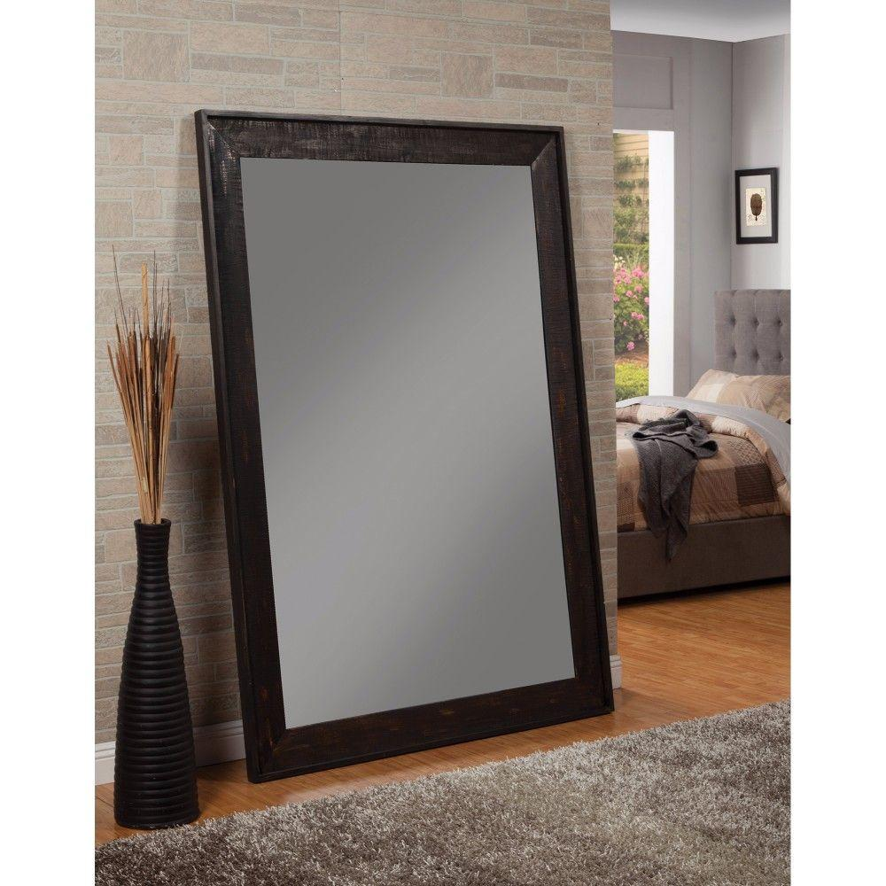 Kamila Distressed Floor Mirror With Wooden Frame, Black