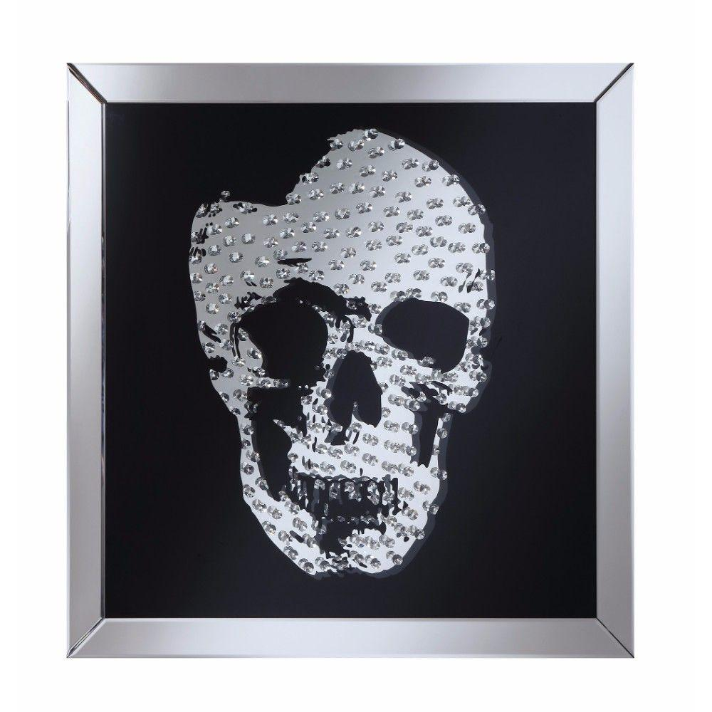 Mallory Adorning Wall Mirror With Jeweled Skull, Clear And Black