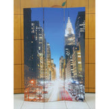 Stella 3-Panel Wooden Screen, Town Scenery, Multicolor