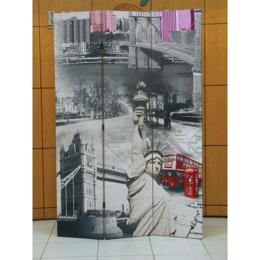 Lucy 3-Panel Wooden Screen, Scenery, Multicolor