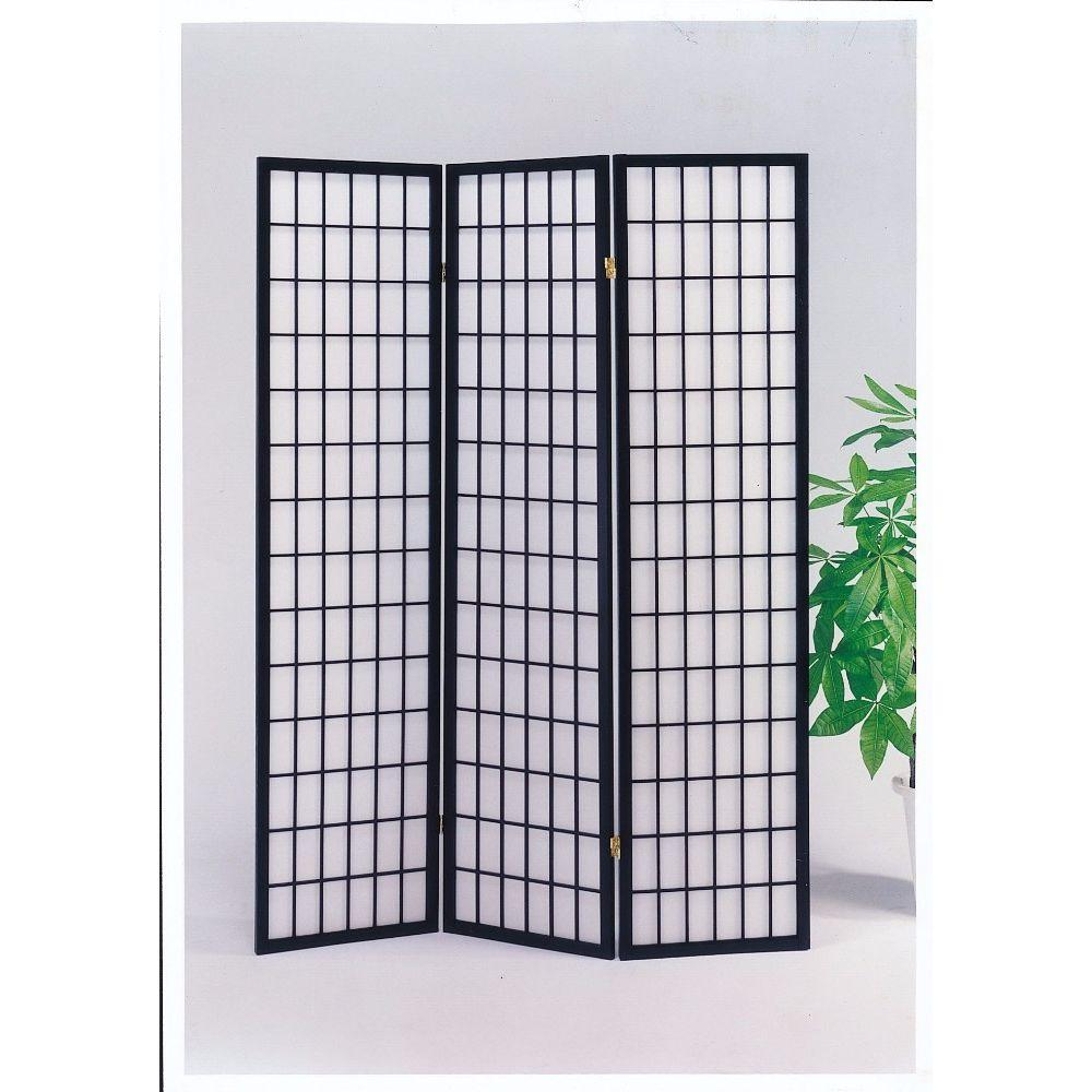 Kimberly 3-Panel Wooden Screen, Black