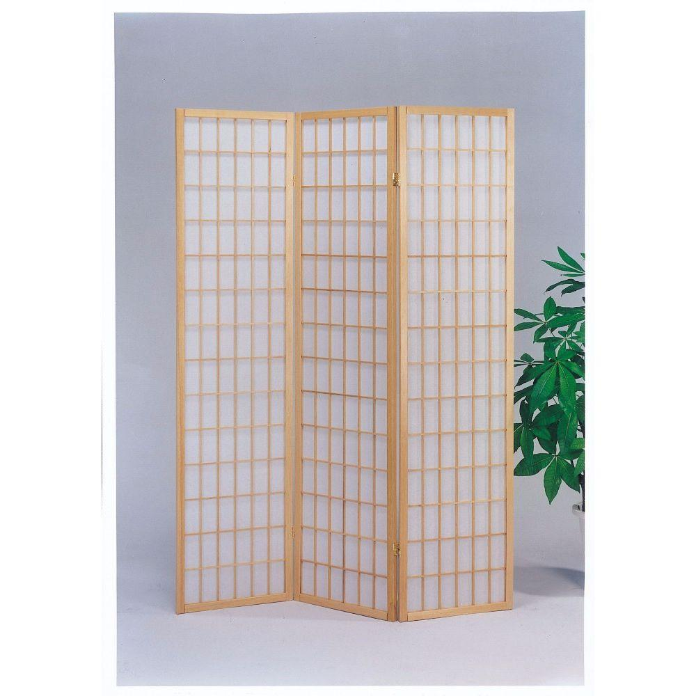 Faith 3-Panel Wooden Screen, Natural