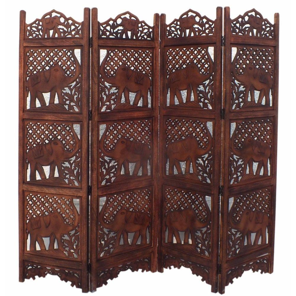 Miriam Carved Screen Elephant , Wood - Room Divider