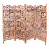 Crystal Carved Screen Sun And Moon, Wood - Room Divider