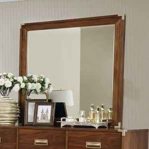 Samson Wooden Square Mirror, Dark Oak Brown