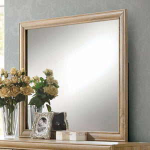 Hezekiah Wooden Square Mirror, Natural Brown
