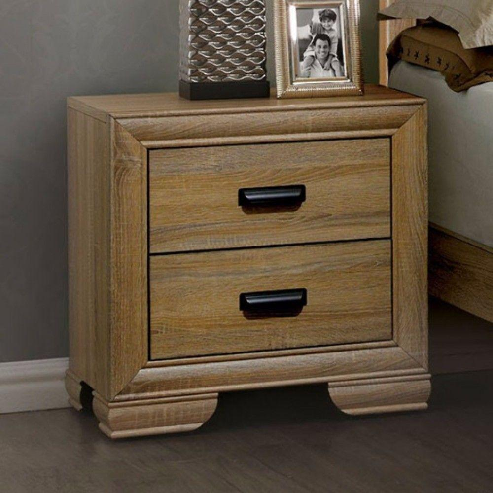 Darien Wooden Night stand With 2 Drawers, Natural Wood Brown