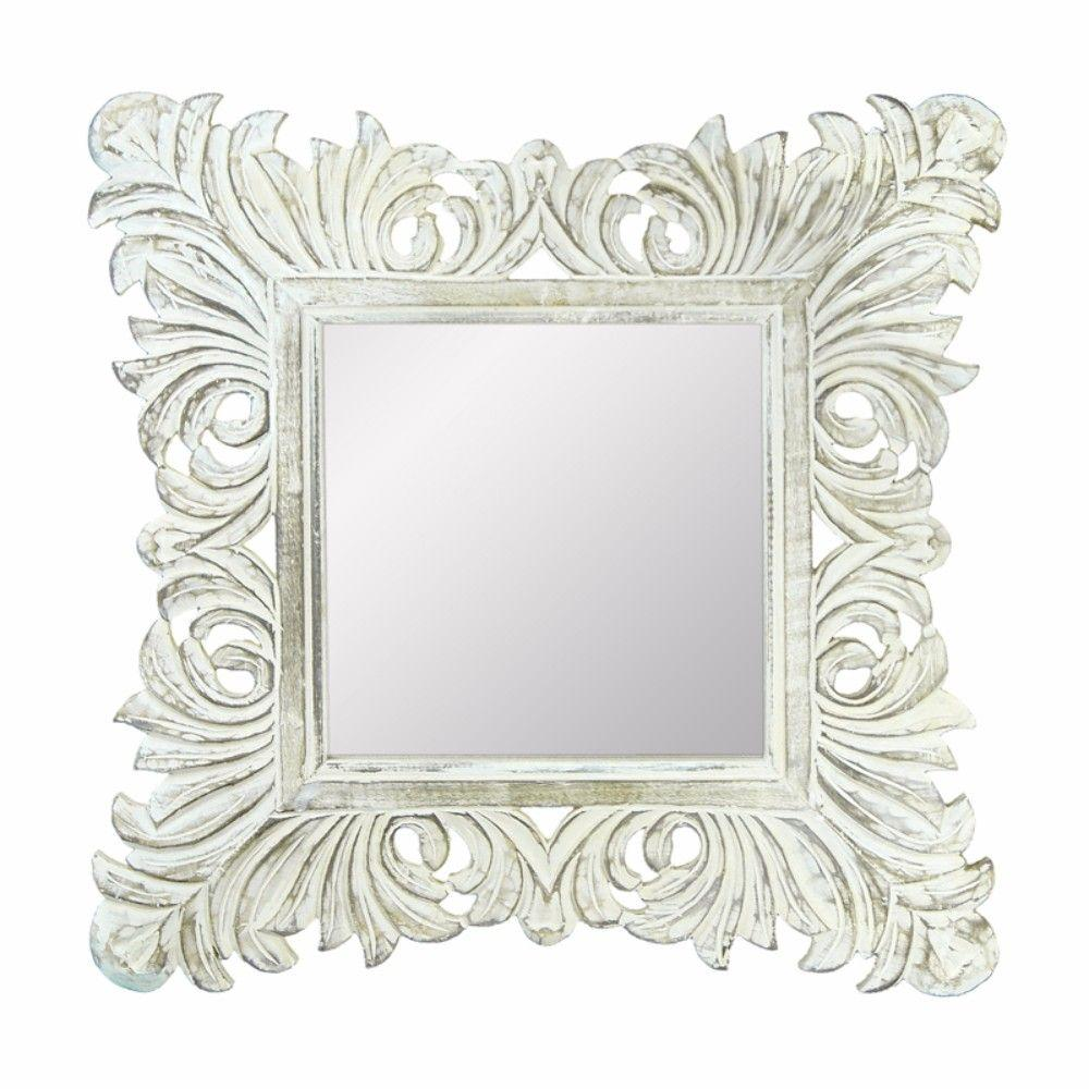 Kiley Distressed Mirror With Wooden Frame, White