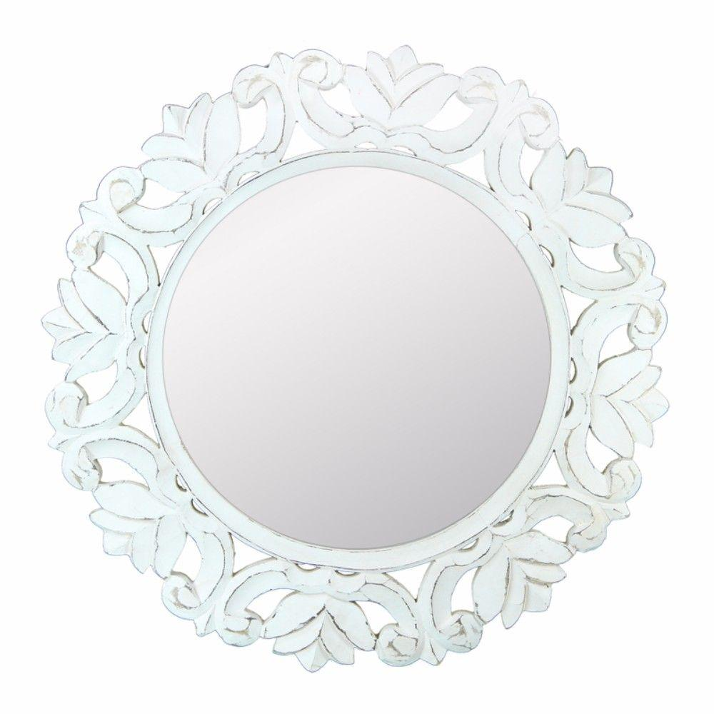 Holly Distressed Wooden Framed Mirror, White