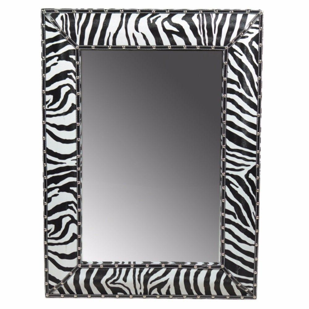 Tatiana Enchantingly Striped Wooden Mirror, Black And White