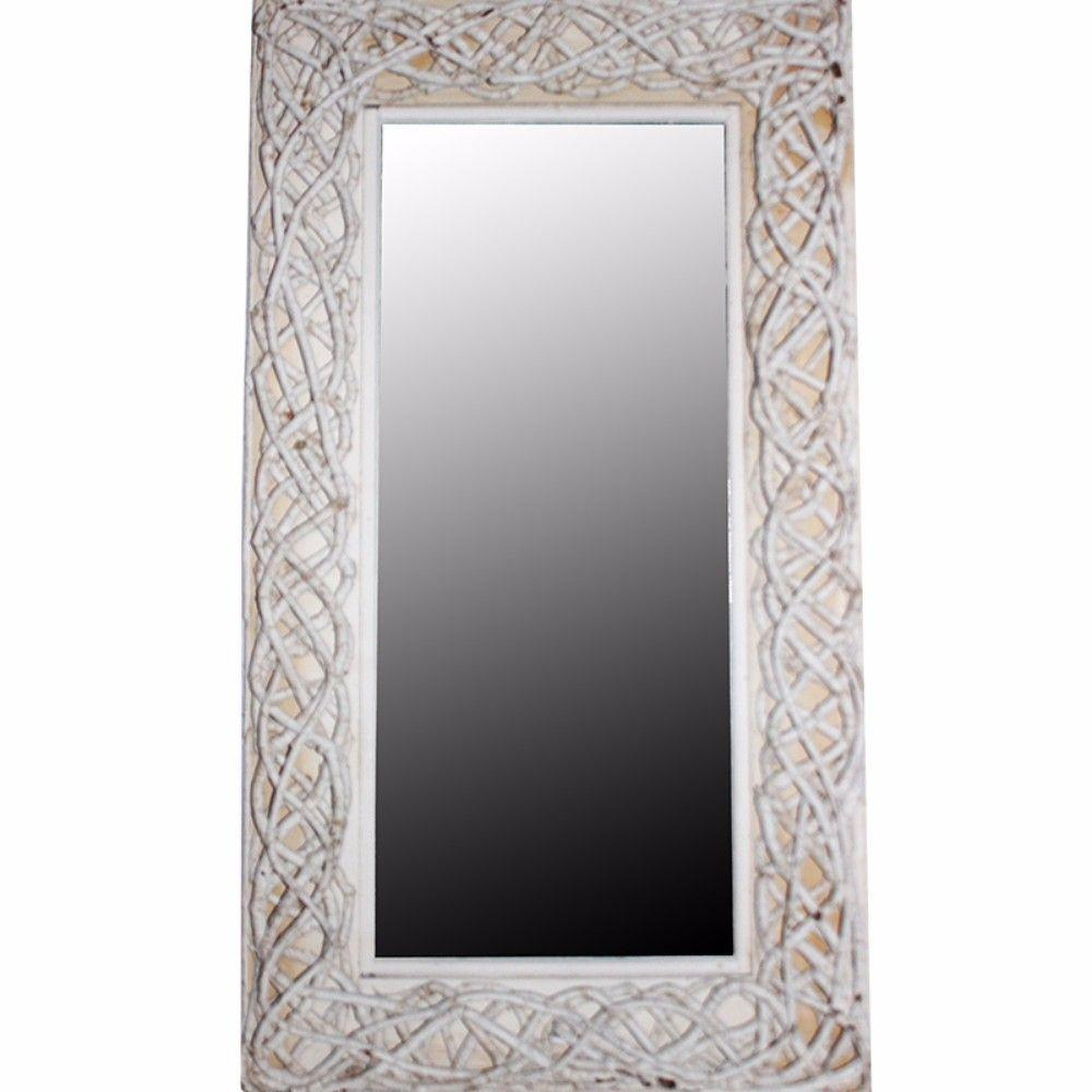 Jayden Aesthetic Mirror With Rattan Frame, White