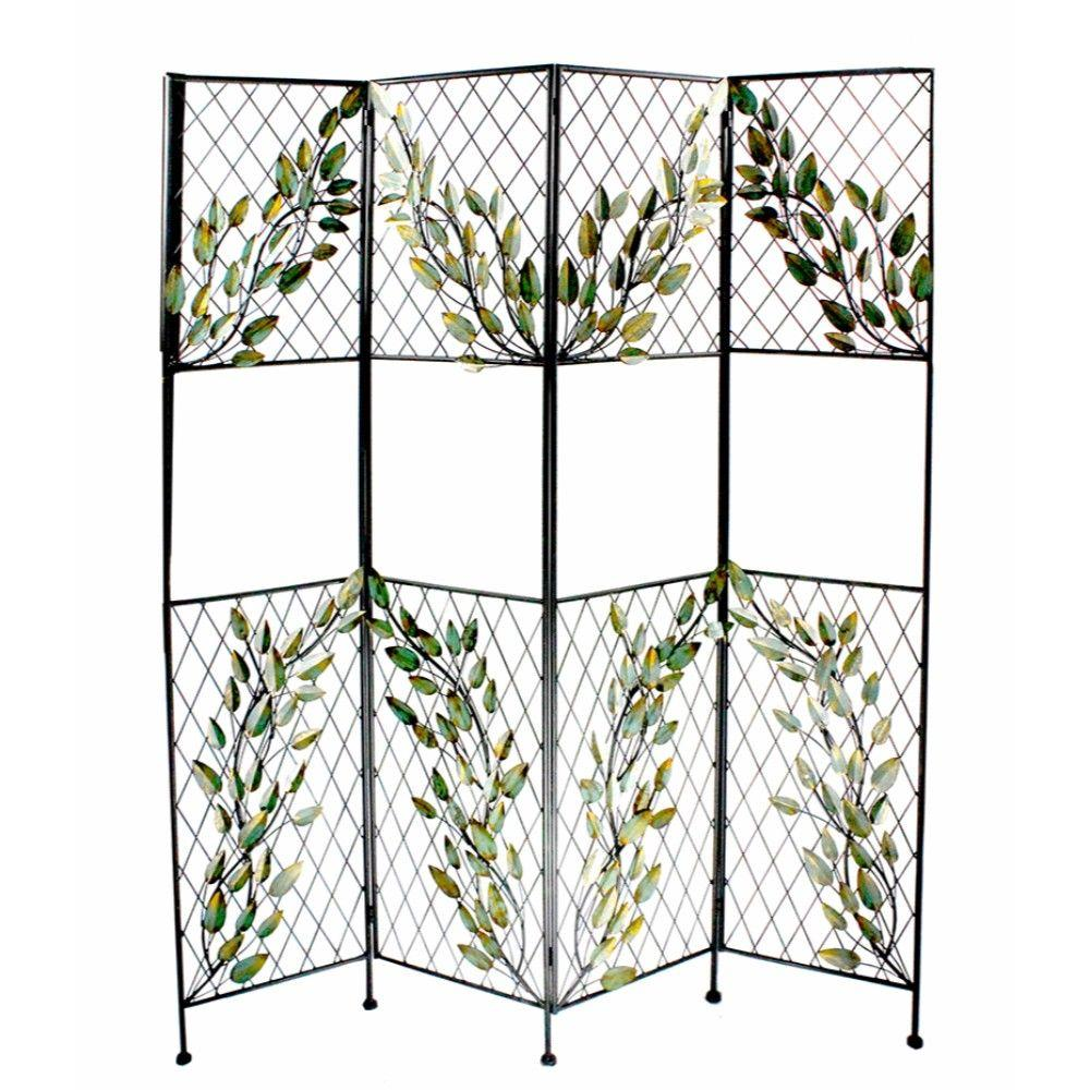 Malia Astonishing Metal Screen With Leaves, Multicolor