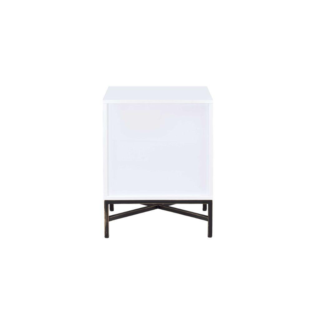 "Rowley White And Black Wooden Nightstand 20"" X 18"" X 26"""
