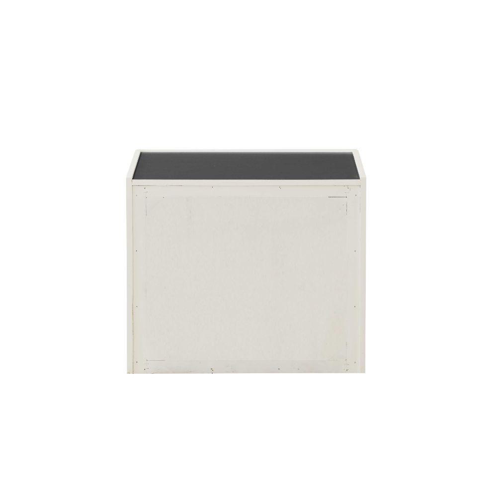 "Landon Cream White And Dark Grey Mdf Nightstand 24"" X 17"" X 20"""