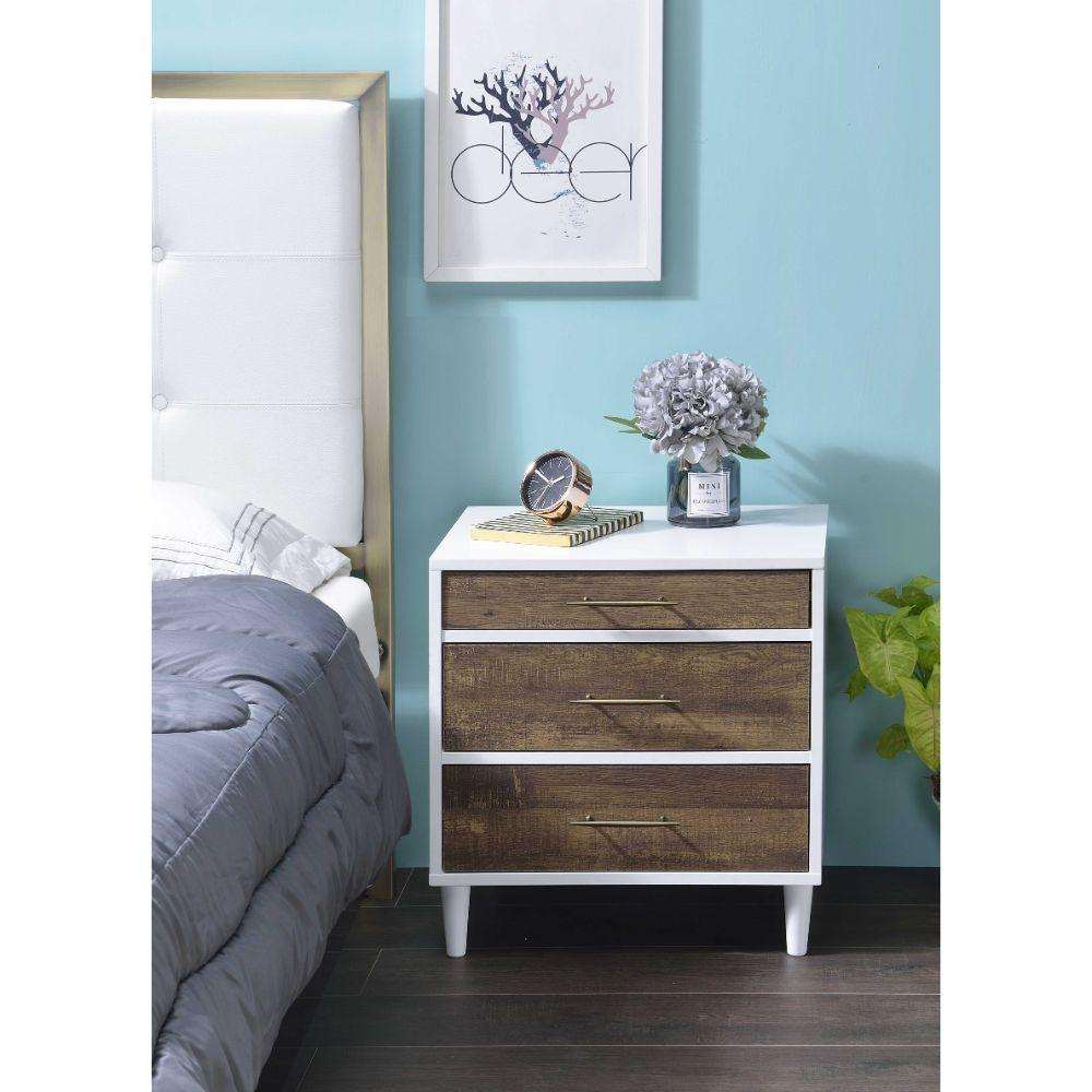 "Christiana White And Weathered Oak Metal Nightstand 20"" X 16"" X 21"""