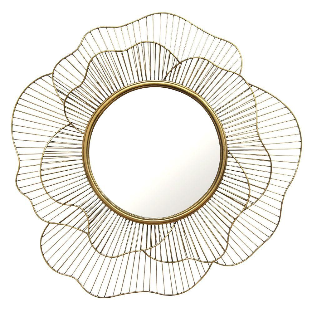 "Khloe Gold Flower Shape Wall Mirror 28.25"" X 2.5"" X 28.25"""