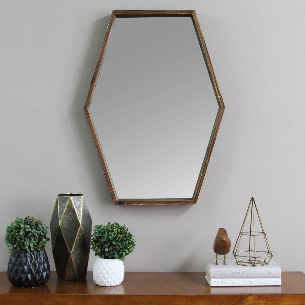 "Codie Handcrafted Wood Mirror With Decorative Frame 20.47"" X 1.97"" X 27.5"""