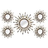 "Rachel Bronze 5Pcs Burst Wall Mirrors 39"" X 1.5"" X 21"""