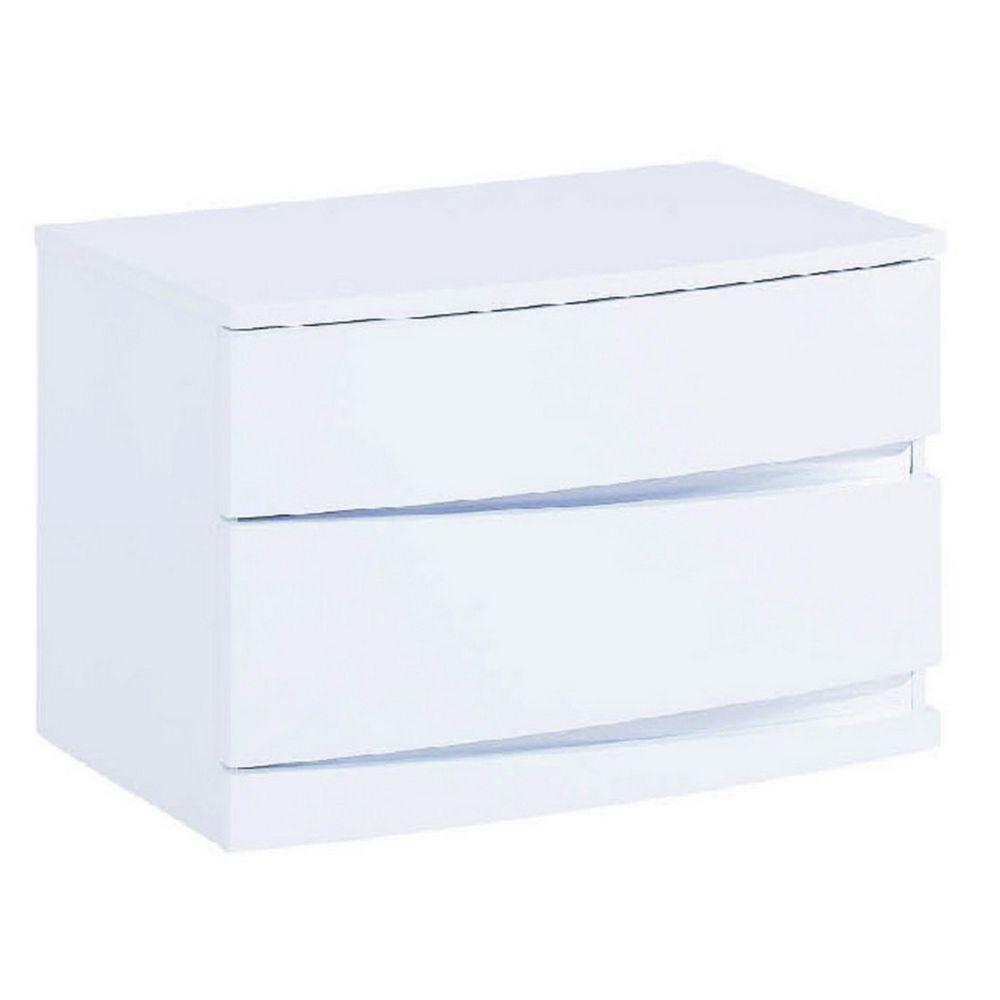 Heath Exquisite White High Gloss Nightstand 16.5""