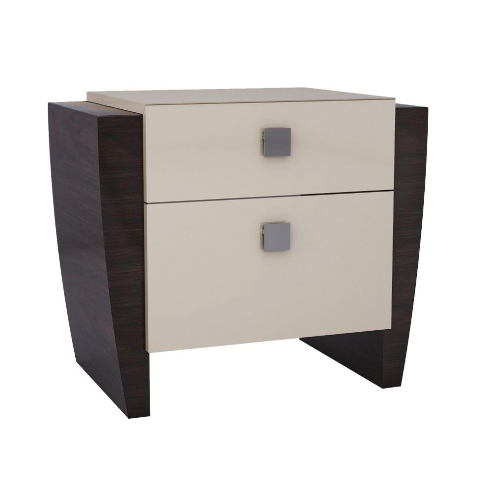 Noah Refined Beige High Gloss Nightstand 22""