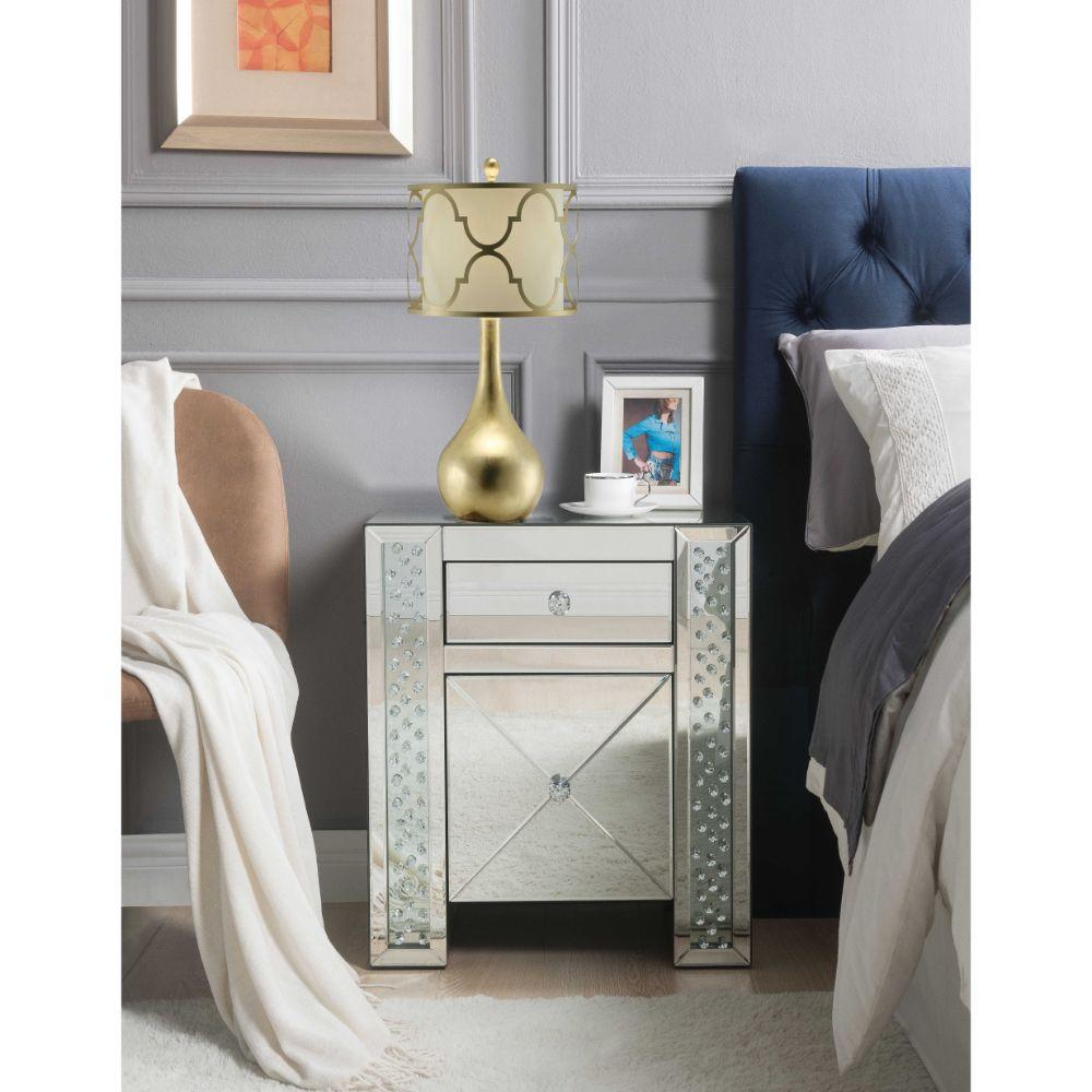 "Michael Mirrored And Faux Crystals Nightstand 22"" X 14"" X 26"""