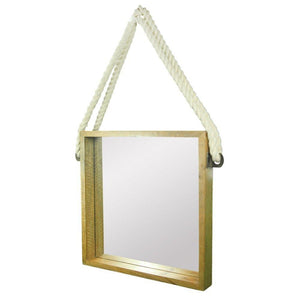 Harvey Wooden Hanging Mirror With Rope, Natural Brown