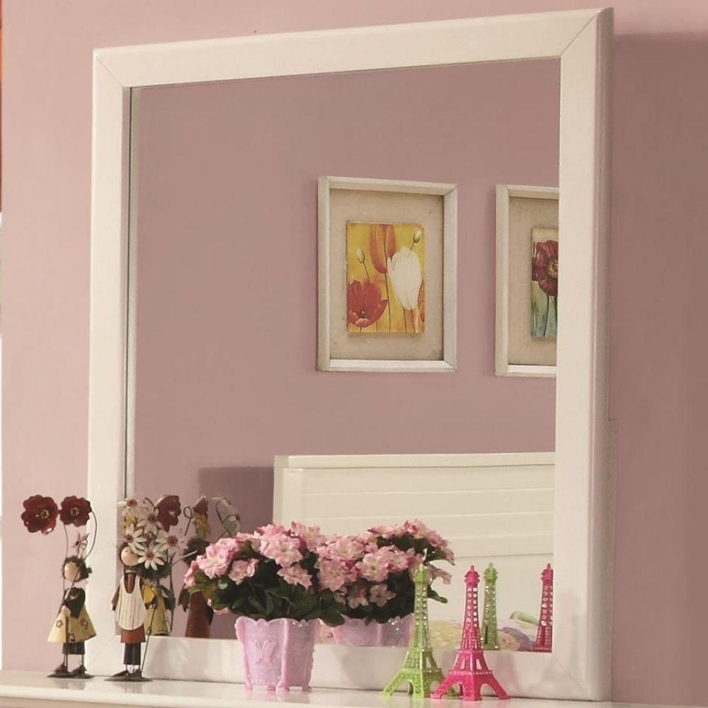 Lyric Wooden Framed Mirror, White