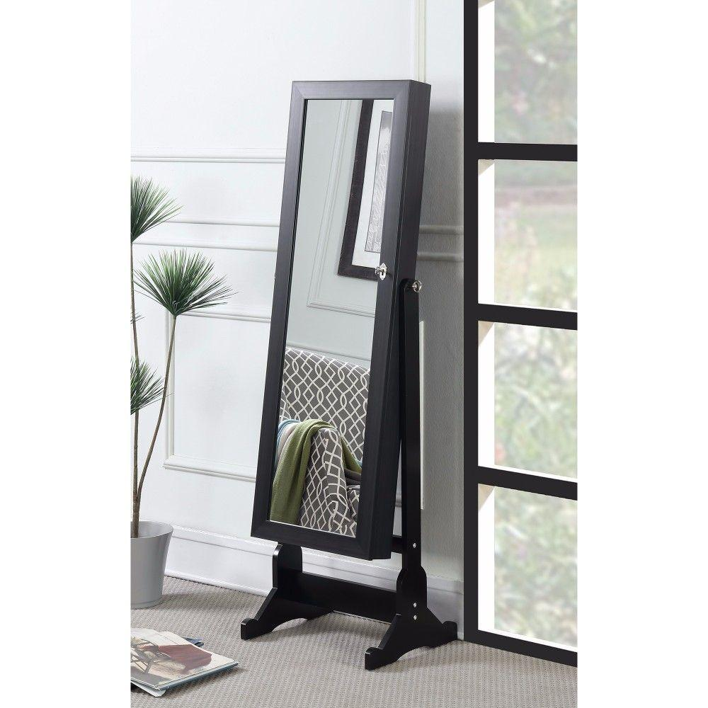 Kamryn Wooden Jewelry Cheval Mirror, Black