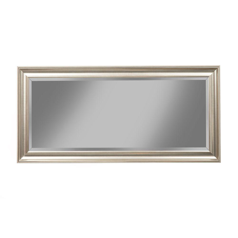 Gracelyn Full Length Leaner Mirror With a Rectangular Polystyrene Frame, Champagne Silver