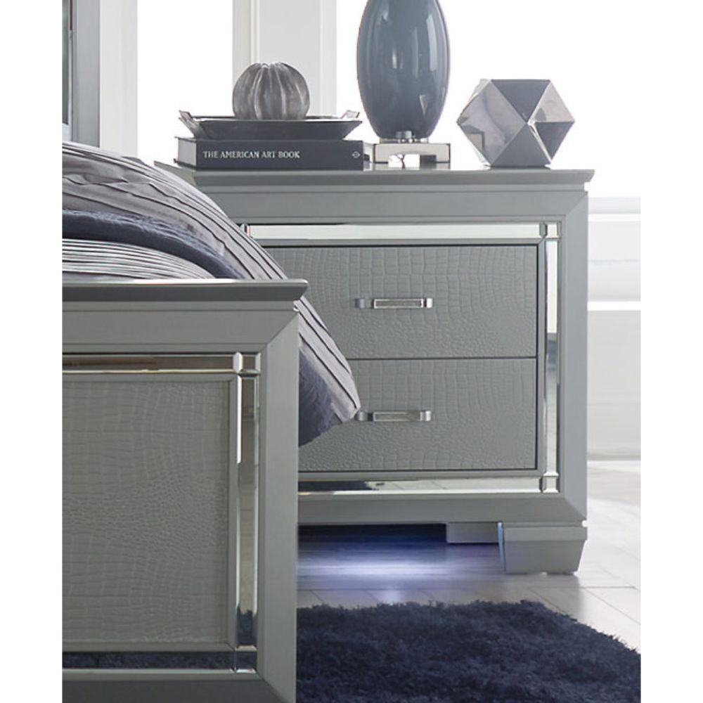 Ahmed Mirror Accented Wooden Night Stand With 2 Drawer, Gray