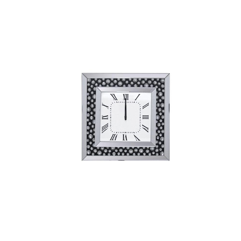 Heidi Beveled Mirror Frame Textured Analog Wall Clock, Black & White
