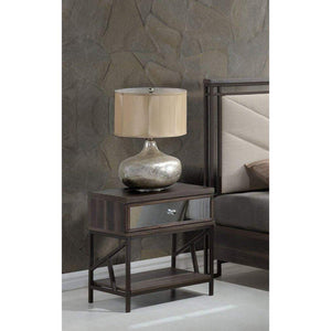 Larissa Wood & Metal Nightstand with Mirrored Front Drawer, Walnut Brown & Black