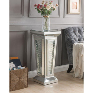 Alvaro Wood and Mirror Pedestal Stand With Faux Crystals, Silver