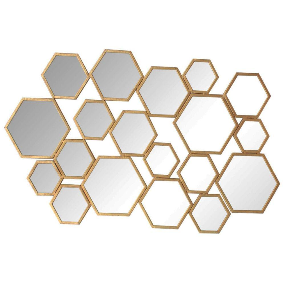 Alanna Hexagon Cluster Metal Wall decor with Inserted Mirror, Gold and Clear