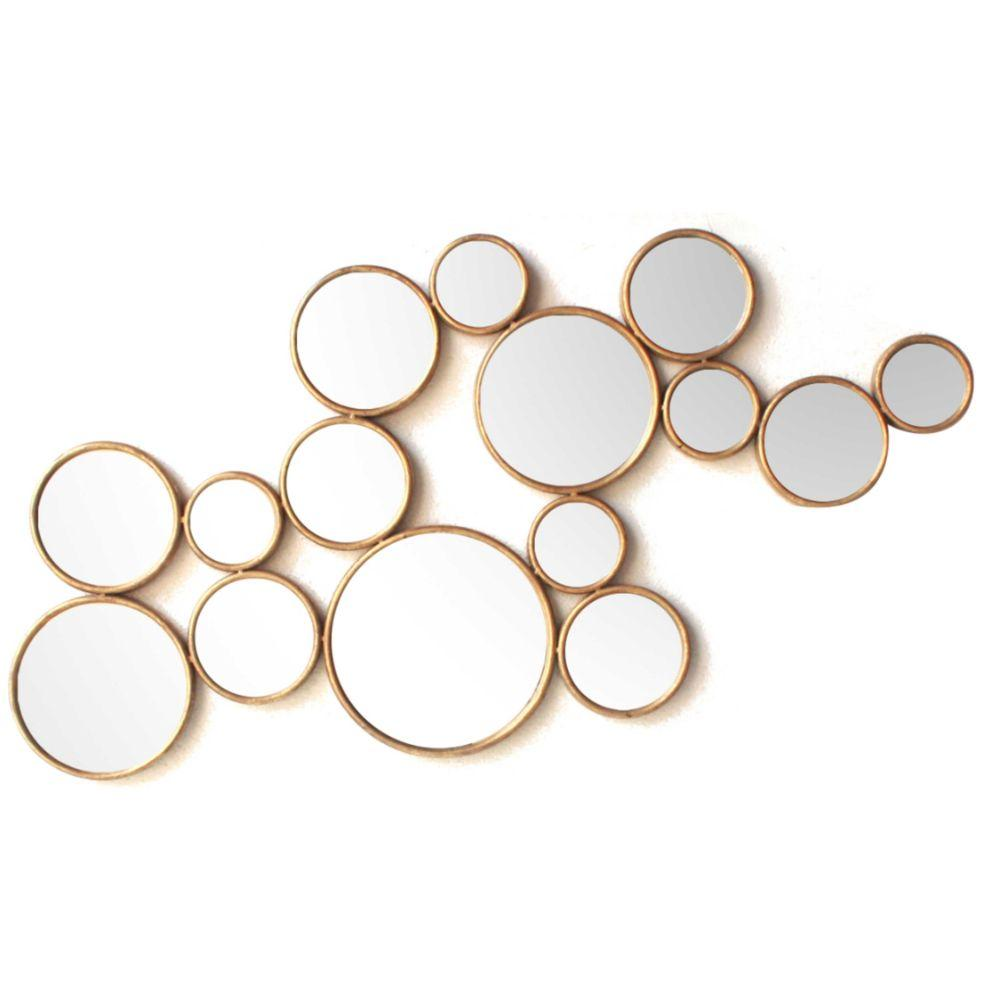 Jayson Circle Cluster Metal Wall decor with Inserted Mirror, Gold and Clear