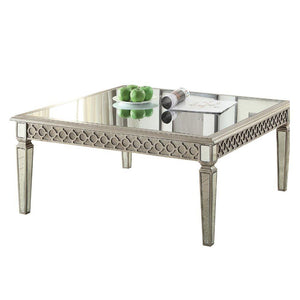 Jair Wooden Frame Rectangular Coffee Table with Beveled Mirror Top, Silver