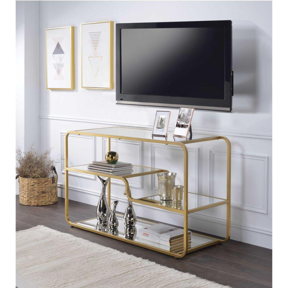 Aldo Modern Metal Framed TV Stand with Mirrored Open Compartments, Gold and Clear