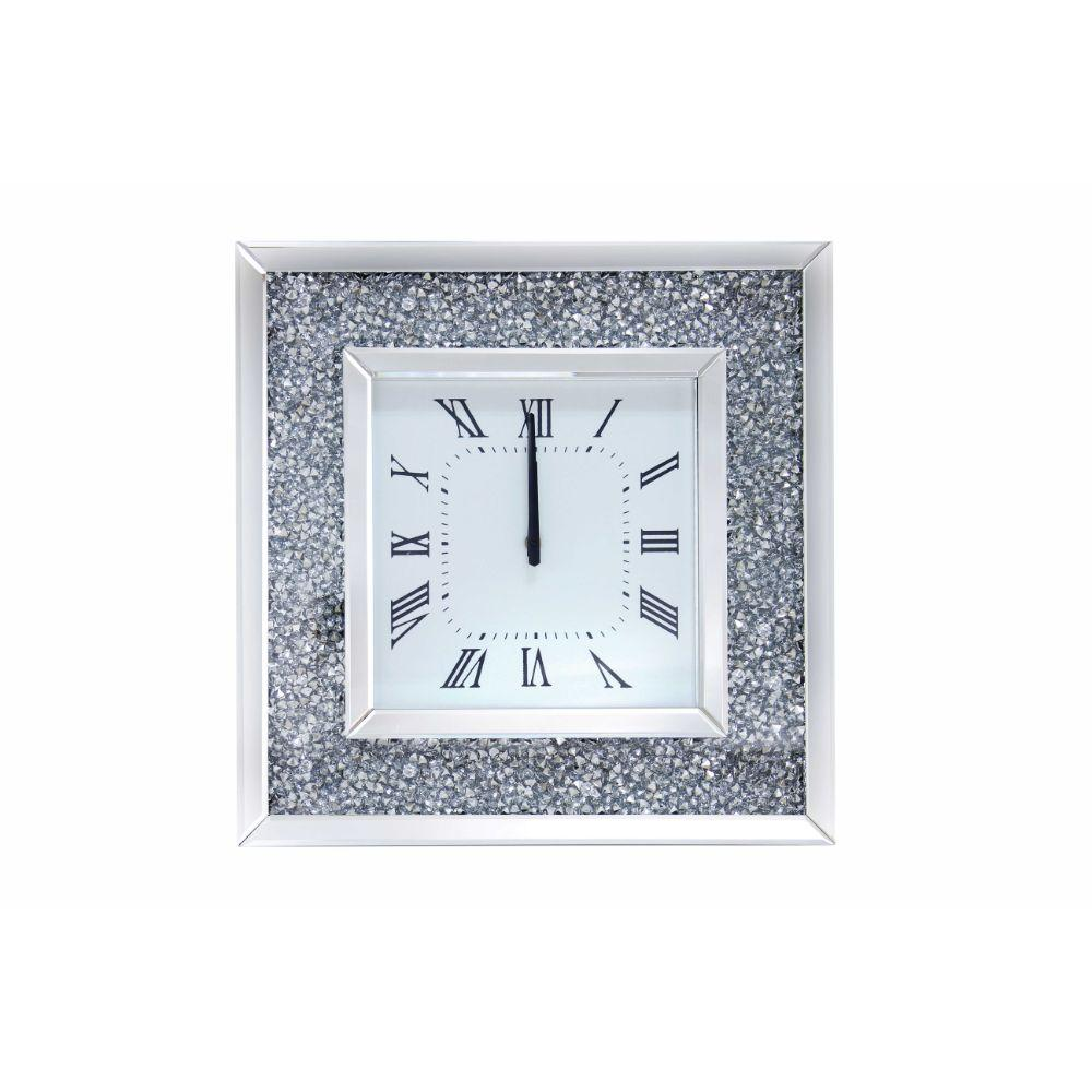 Sage Faux Crystal Inlaid Mirrored Analog Wall Clock with Wooden Backing, Clear