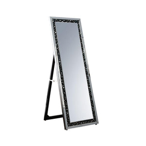 Arnav Wooden Framed Floor Mirror with Fold Out Back Leg, Clear and Black