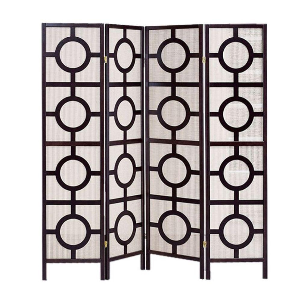 "Leilani 4 Panel Brown Wood Jute Inlay Screen 68"" X 1"" X 70"""