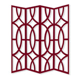 "Sierra 4 Panel Contemporay Red Wood Screen 84"" X 2"" X 84"""
