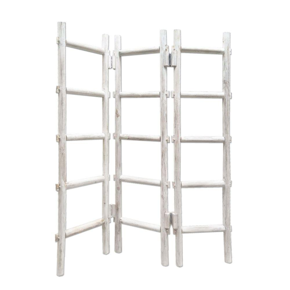 "Londyn White Wood Blanket Rack Screen Grey 54"" X 1.5"" X 59"""