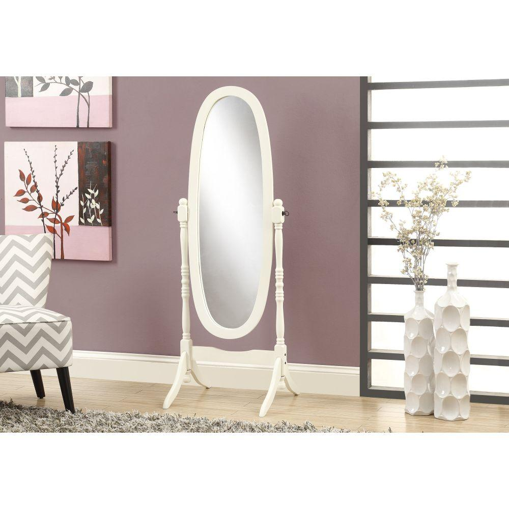 Callie Antique White Solid Wood and MDF Frame Mirror 59""