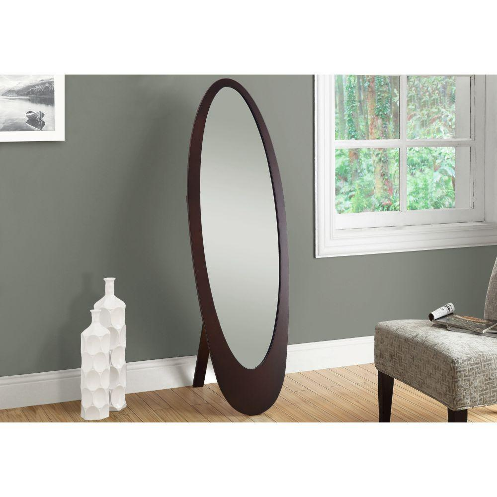 Adalyn Contemporary Oval Cappuccino MDF Frame Mirror 59""